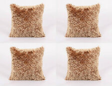 4 X LUXURY PREMIUM QUALITY LATTE SHAGGY CHENILLE MODERN THICK CUSHION COVERS