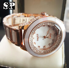 Luxury Women Rose Gold PT Rhinestone Mother of Peal Dial Ceramic Dress Watch