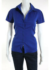 THEORY Bright Blue Cotton V Neck Short Sleeve Button Down Blouse Top Sz S