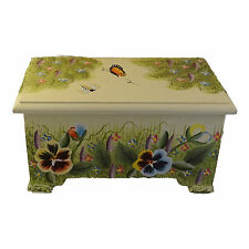 Decorative Box Pansy Design Wooden Boxes Hinged Lid