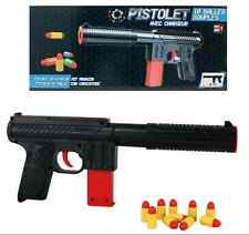 Pistole mit 10 Patronen ca. 30 cm Spielzeug schwarz rot Neu Top Artikel Wow Fun