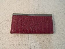 Adult Women's Faux Maroon Snake Skin Snap Closed Evening Clutch Purse 33882
