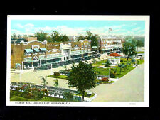 1920's BEV Stores Mall looking East Avon Park FL post card Roadside
