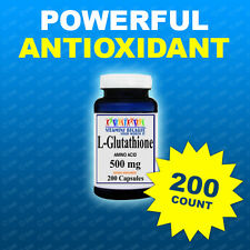 L GLUTATHIONE  500MG  200 CAPS Anti Aging Powerful Antioxicant USA/CGMP Facility
