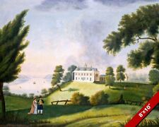 GEORGE & MARTHA WASHINGTON AT MT MOUNT VERNON PAINTING ART REAL CANVAS PRINT