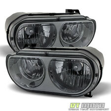 Smoked 2008-2014 Dodge Challenger Headlights Headlamps Replacement Left+Right