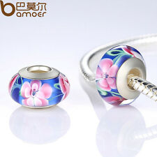 Flowers Series European Lampwork Murano Glass Beads Fit Charms Bracelet Jewelry