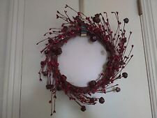 Red Beads and Jingle Bells Decorative Wreath