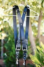 Genuine Leather Two-Camera Harness Belt/Strap - Black Leather/Silver Hardware