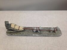 VINTAGE Inuit Eskimo Art soapstone carving: ESKIMO dog sled signed Dimu