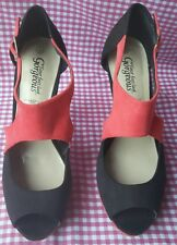 GORGEOUS NEW LOOK ORANGE AND BLACK FAUX SUEDE PEEP TOE STILLETO SHOES SIZE 7.