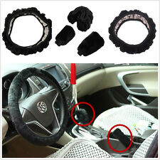 3pcs Soft Plush Steering Wheel Hand-Brake Gear Shift Woolen Cover Warm Kit Black
