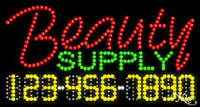 "NEW ""BEAUTY SUPPLY"" 32x17 w/YOUR PHONE NUMBER SOLID/ANIMATED LED SIGN 25048"