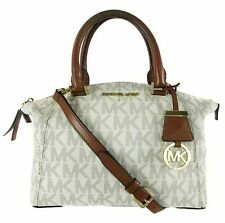 MICHAEL KORS RILEY MK Logo Vanilla PVC SM Satchel Shoulder Bag Msrp $298