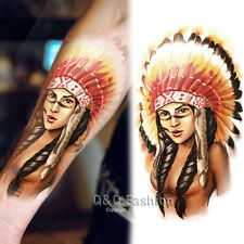 Indian Chief Colors Big Arm Leg Body Art Waterproof Temporary Tattoo Sticker