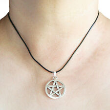 Pentagram Wicca Round Silver Pendant Charm Black Rubber Necklace