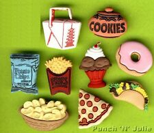 Aliments de collation-frites pizza chinois donut jetons nouveauté robe it up boutons Craft