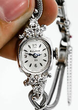Antique 1950s $4000 23j Bulova .33ct VS G Diamond 14k White Gold Ladies Watch