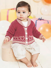 Knitting Pattern - Baby-Infants Heart Motif Collared Cardigan  (6 sizes) PO184