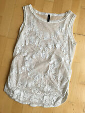 HIGH USE White Foral Sheer Lace Tunic Shirt Blouse Top M UK 14