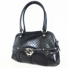 Gucci – Women's Black Perforated Leather GG logo Shoulder bag