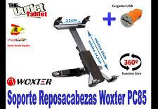 """SOPORTE REPOSACABEZAS PARA Tablet WOXTER PC85 8"""" PC 85 GIRATORIA + CARGADOR USB"""