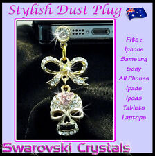 Skull Bow Dust Plug Phone Accessory Jewellery Charm Pendant Gift iPhone Samsung