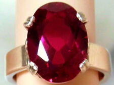 8ct red ruby 925 sterling silver ring 4mm wide band size 7 USA made
