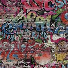 P&S GRAFFITI MOTIF BRICK WALL PATTERN URBAN CHILDRENS WALLPAPER