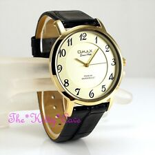 Omax Classic Slim Gold Epson Seiko Movt Black Leather Gents Dress Watch SX14G12A