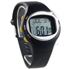 Sports Fitness Pulse Heart Rate Monitors Calories Counter Black Wrist Watch Gift