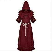 Friar Medieval Cowl Hooded Monk Renaissance Priest Robe Costume Cosplay 5 Colors