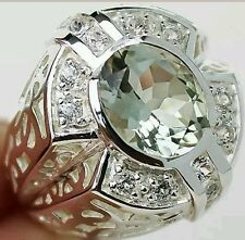Vintage style 3.50 cts Green Amethyst & White Topaz Ring 100%  Solid .925
