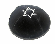 Black Star Of David Velvet Yarmulke Kippah 20 cm Jewish Kippa Hat Judaica Cap