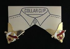 Masonic Shriner Collar Tip Set in Gold Plating with Gold Emblems (Style 6)