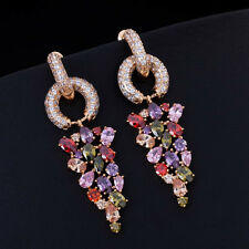 18k Gold Earrings w/ Swarovski Crystal Multicolor Marquise Stone Gorgeous Jewel