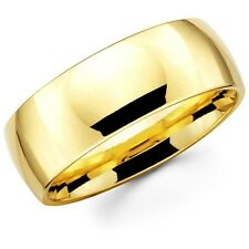Mens Women Solid 14K Yellow Gold Plain Wedding Ring Band Comfort Fit 8MM Size 10