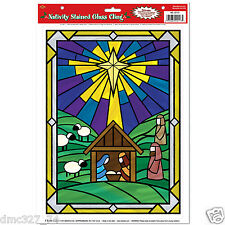 1 CHRISTMAS WINDOW CLINGS Bethlehem Religious NATIVITY STAINED GLASS CLING
