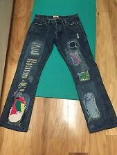 Women's ANTIK DENIM Distressed Factory Patched Button Fly RARE Size 27, SKU3R