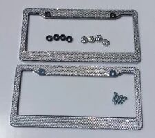 2pc Silver Diamond Bling Rhinestone Metal License Plate Frame Cover For Any Car