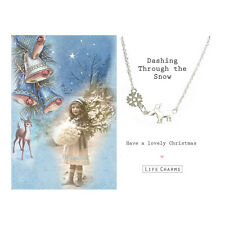 Life Charms Christmas Reindeer Necklace – Silver Plated Jewellery Girl's Gift