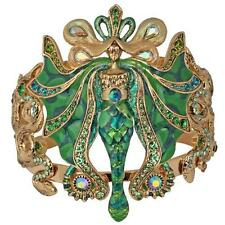 NEW KIRKS FOLLY LUMINA SERPENT FAIRY CUFF BRACELET ANTIQUE GOLDTONE/GREEN ENVY