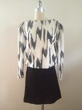 1980s Vintage Mod / Abstract Print Black & White Dress Size Large FREE SHIPPING