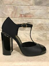 NIB Chanel 16B Black Leather Mary Jane CC Chain Block Heel Ankle Pump 37 $925