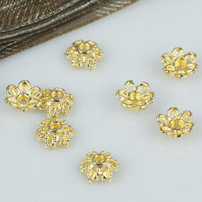 300pcs gold tone 6mm flower spacer bead caps findings h0205