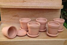 Miniature Dollhouse FAIRY GARDEN Accessories ~ Set / 6 Small Clay Pots w Saucers