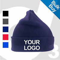 Personalised Embroidered /Printed Woolly Ski Beanie Custom Hat Cap Text/Logo Lot
