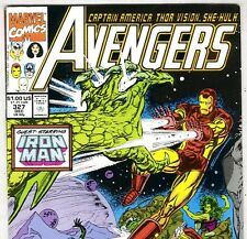 The AVENGERS #327 with Captain America & Iron Man from Dec 1990 in VG/F con. DM