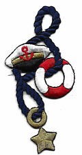 NAUTICAL/CAPTAIN HAT, LIFE PRESERVER, ROPE & STAR/ Iron On Embroidered Applique