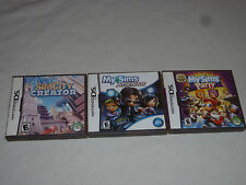 NINTENDO DS VIDEO GAME LOT OF 3 MY SIMS PARTY SIMCITY CREATOR AGENTS COMPLETE